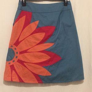 Boden  teal pink orange midi skirt lined size 10R